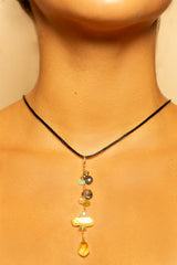 Lemon Citrine Pendant and Tourmaline, Baroque Green Pearl One of a Kind Necklace