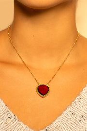 Raspberry Quartz pendant  necklace 20mm