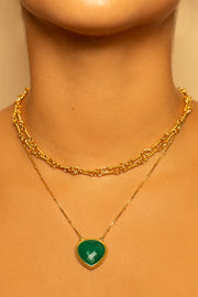 Green Onyx Pendant Necklace 20mm