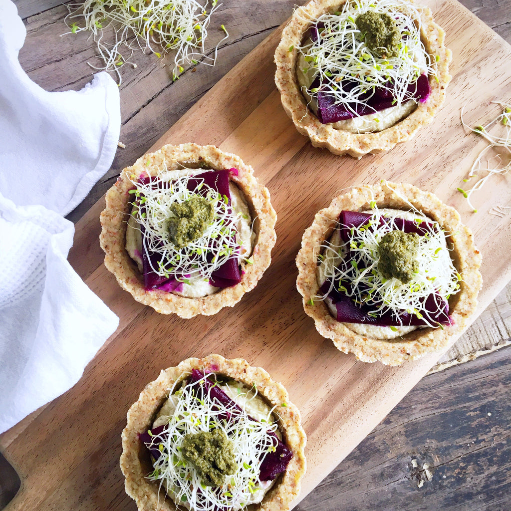 Raw Fermented Beets and Walnut Cream Tarts