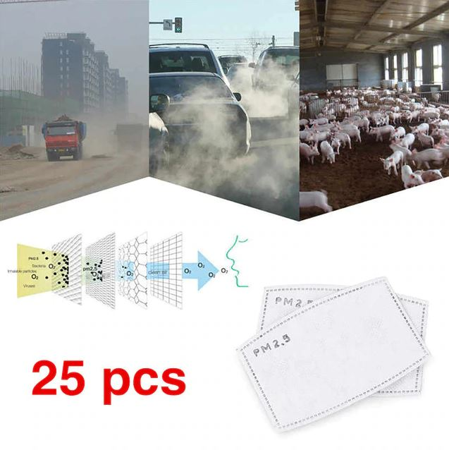 25-51pcs PM 2.5 Insert 5 Layers Activated Carbon Insert Replaceable