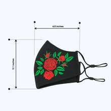 Load image into Gallery viewer, 3 Layers - Embroidery Style 1 - Adults- Nose Wire - Adjustable Straps.