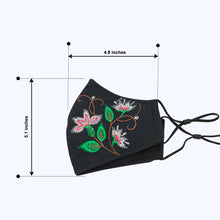 Load image into Gallery viewer, 3 Layers - Embroidery Style 2 - Adults- Nose Wire - Adjustable Straps.
