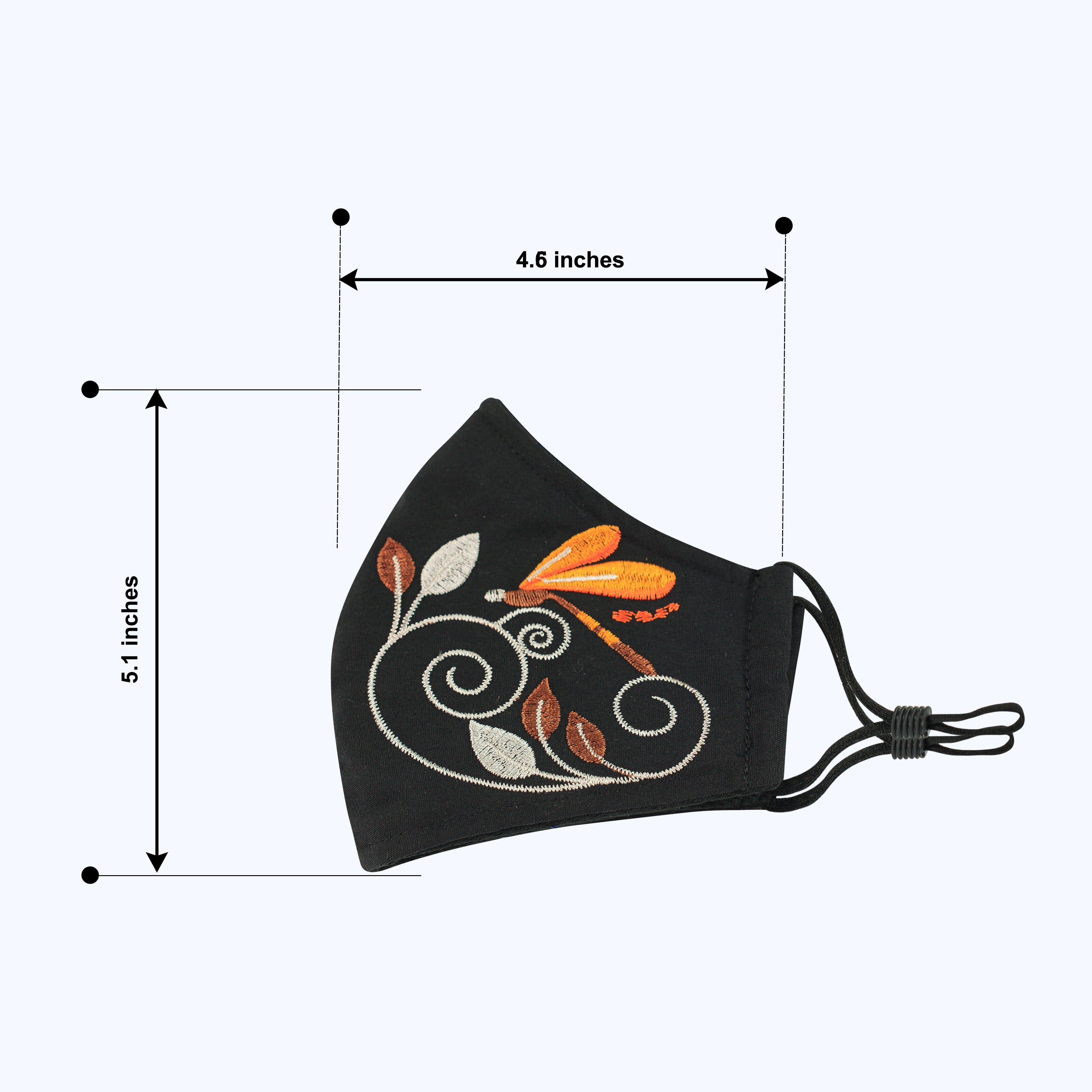 Embroidery Style 3 - Adults - Nose Wire - 3 layers Cloth Mask. Adjustable Straps.