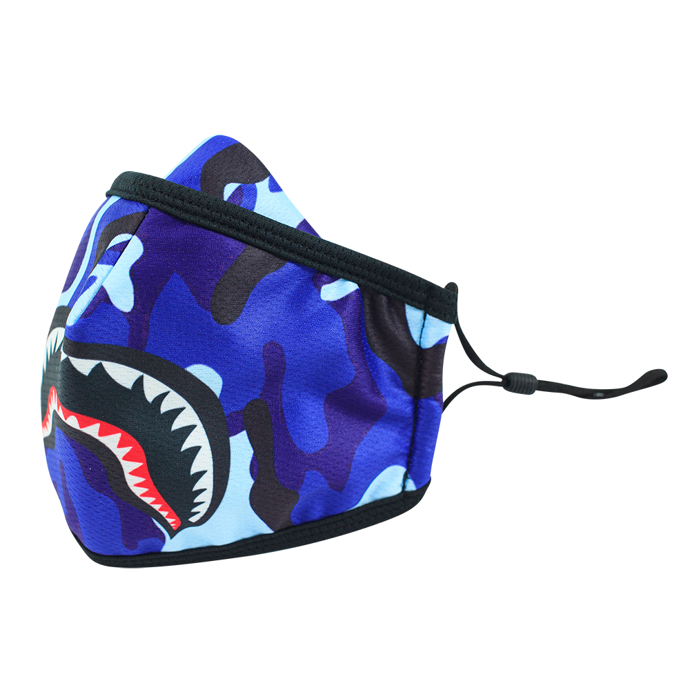 Camo Blue Smile - Adults - Nose Flap - 3 layers Cloth Mask. Adjustable Straps.