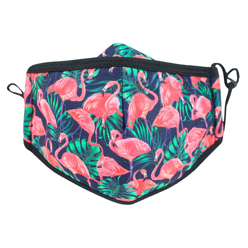 3 Layers - Flamingo - Adults- Nose Flap - Adjustable Straps.