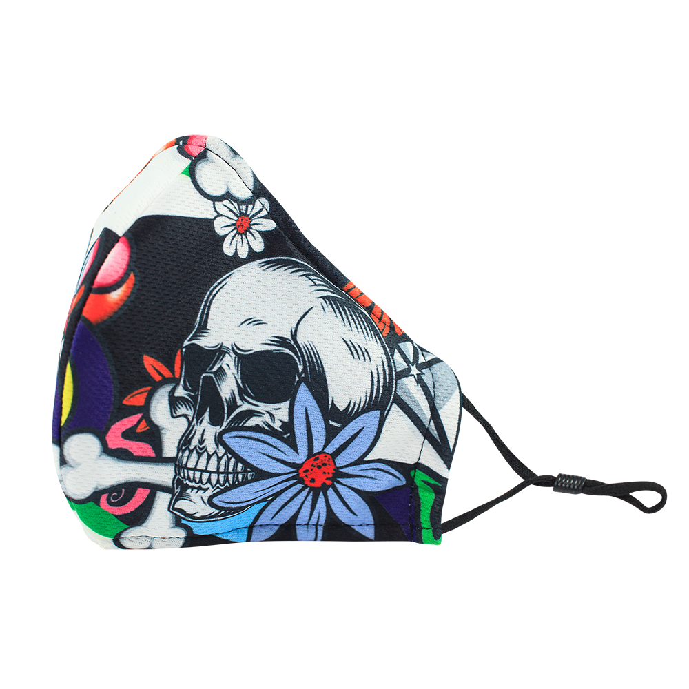 Skull Flower Style 1 - Adults - Nose Wire - 3 layers Cloth Mask - Adjustable Straps.