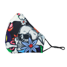 Load image into Gallery viewer, 3 Layers - Skull Flower Style 1 - Adults- Nose Wire - Adjustable Straps.