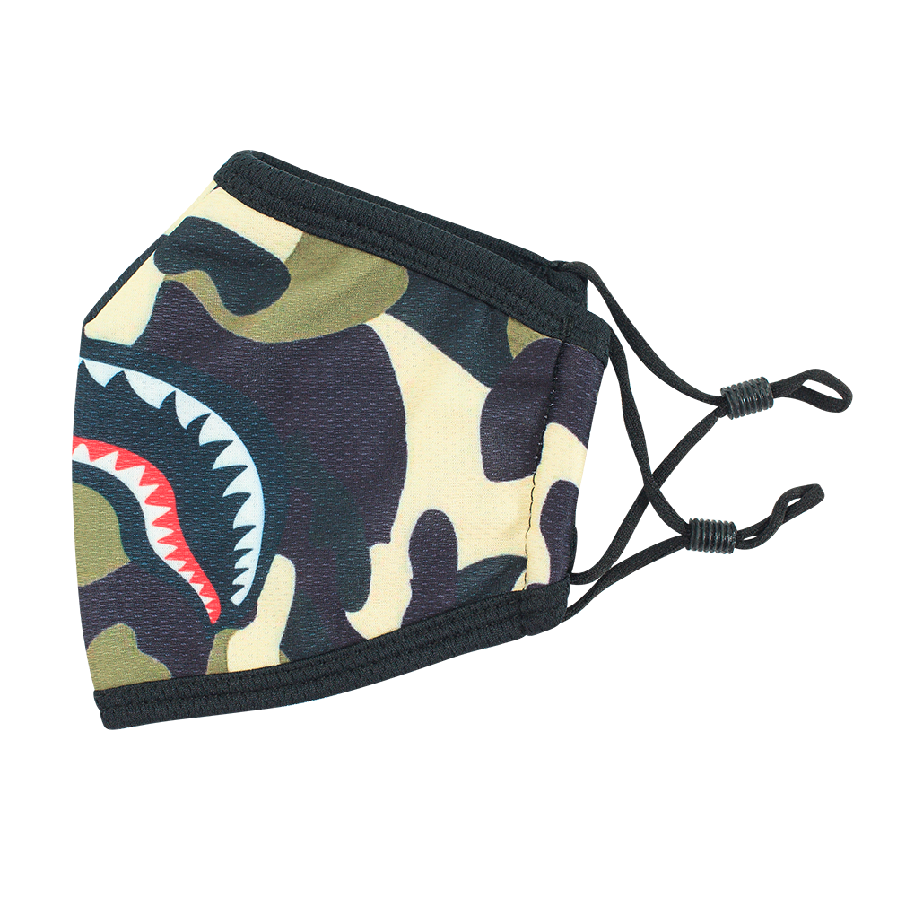 Camo Green Smile - Adults - Nose Flap - 3 layers Cloth Mask. Adjustable Straps.
