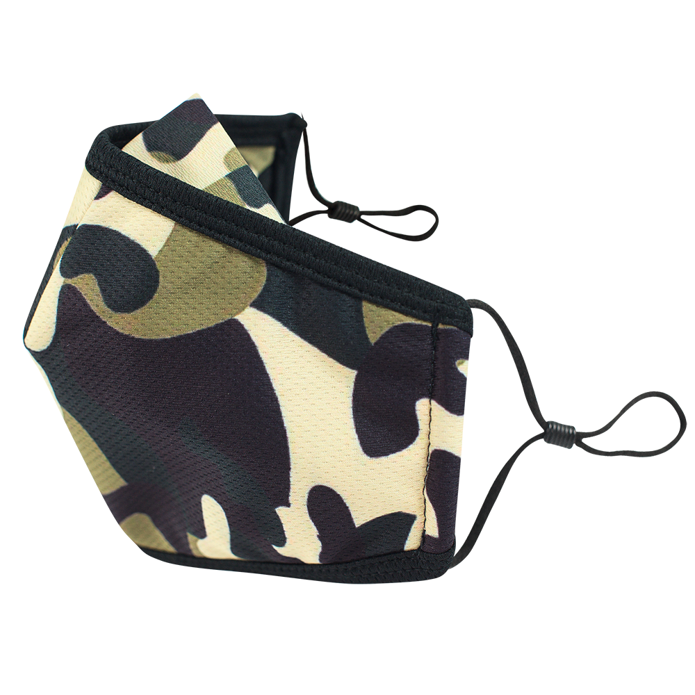 Camo - Adults - Nose Flap - 3 layers Cloth Mask. Adjustable Straps