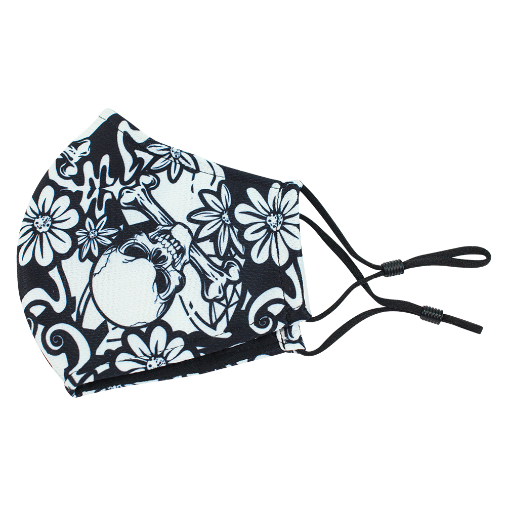 Skull Flower Style 3 - Adults - Nose Wire - 3 layers Cloth Mask - Adjustable Straps.
