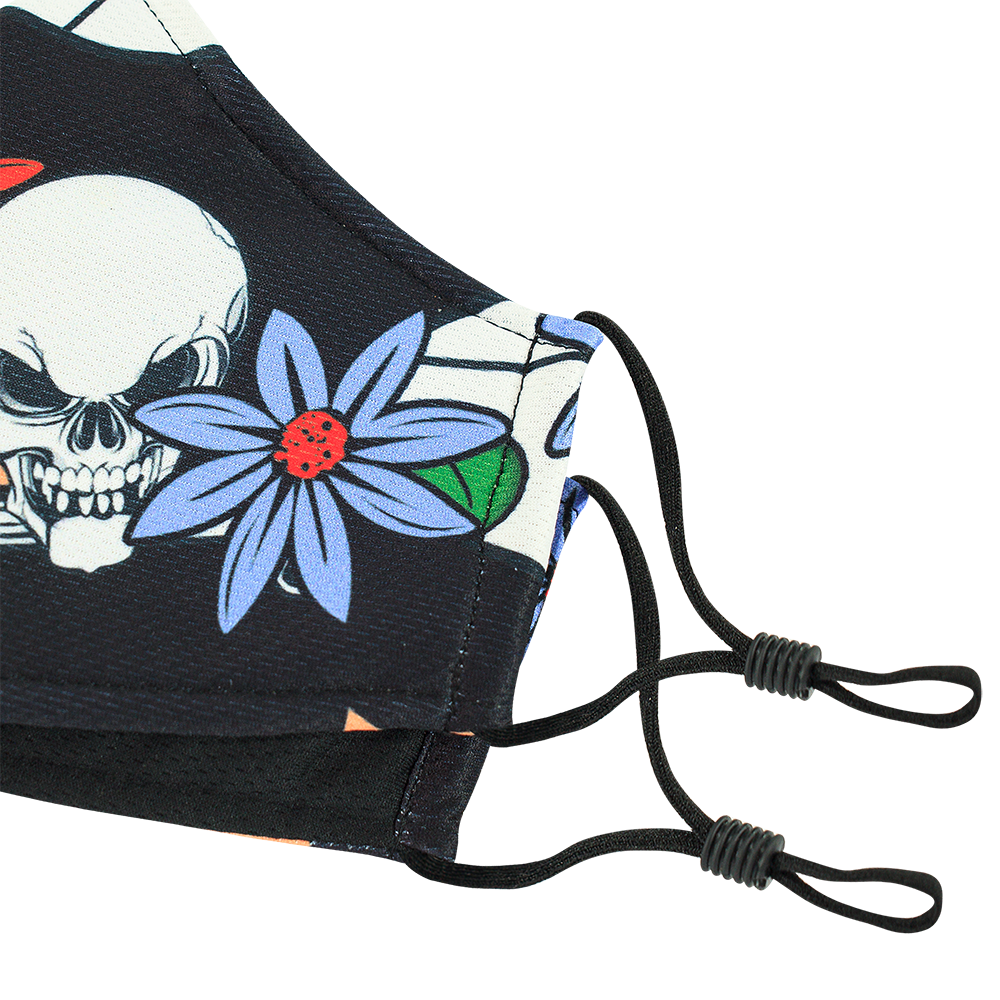 Skull Flower Style 4 - Adults - Nose Wire - 3 layers Cloth Mask - Adjustable Straps.