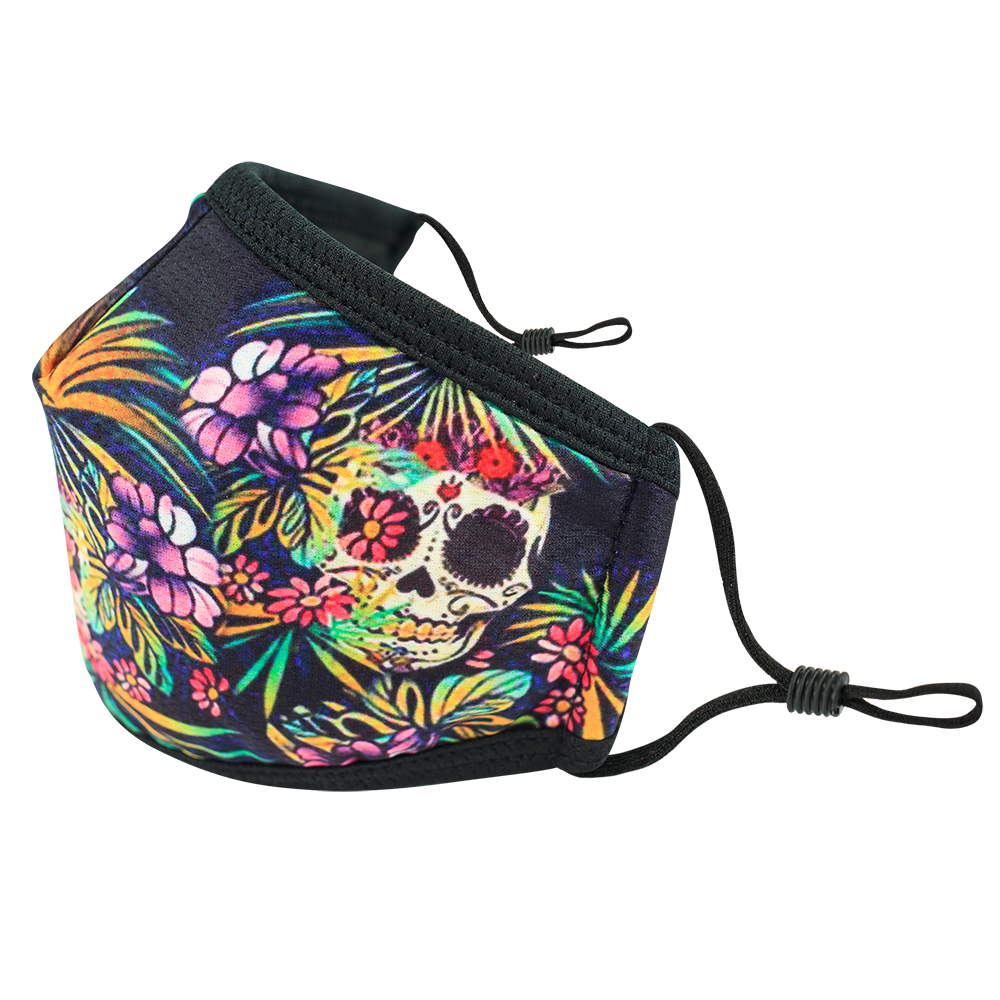 Skull Flower Style 2- Adults - Nose Flap - 3 layers Cloth Mask. Adjustable Straps.