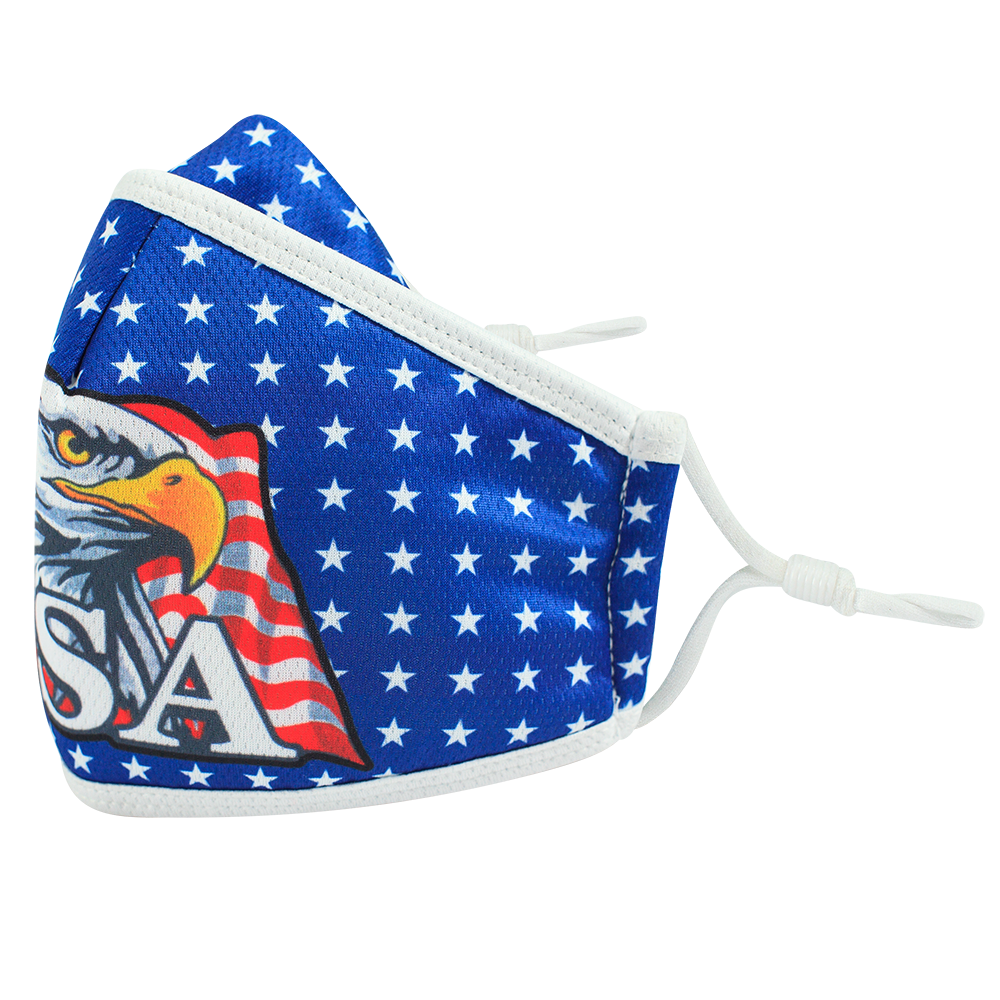 US Eagle - Adults - Nose Flap -  3 layers Cloth Mask. Adjustable Straps.