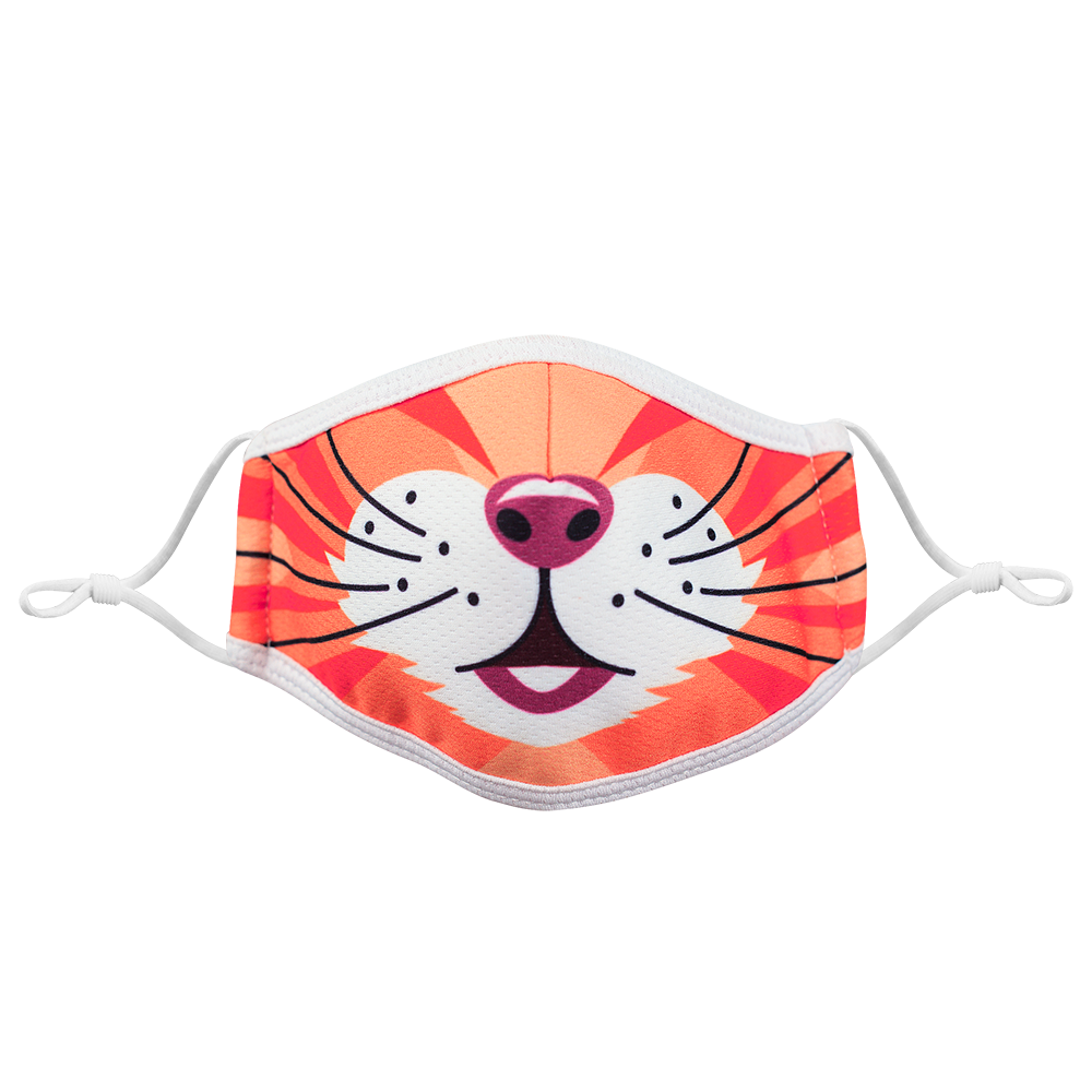 Lion 3 colors- KIDS -  3 layers Cloth Mask. Adjustable Straps.
