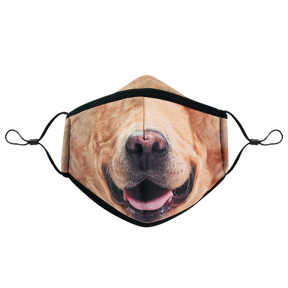 Dog 2 - Adults - Nose Flap - 3 layers Cloth Mask. Adjustable Straps.