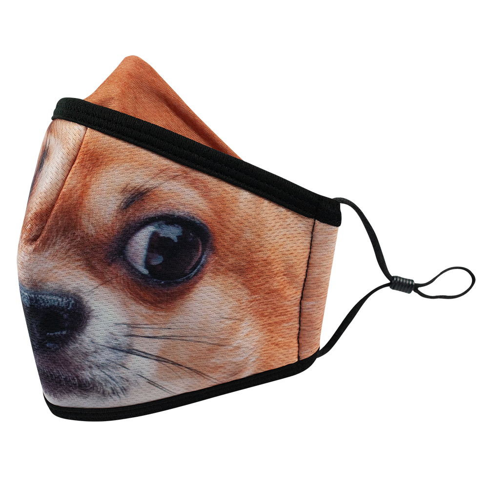 Dog 1 - Adults - Nose Flap - 3 layers Cloth Mask. Adjustable Straps.