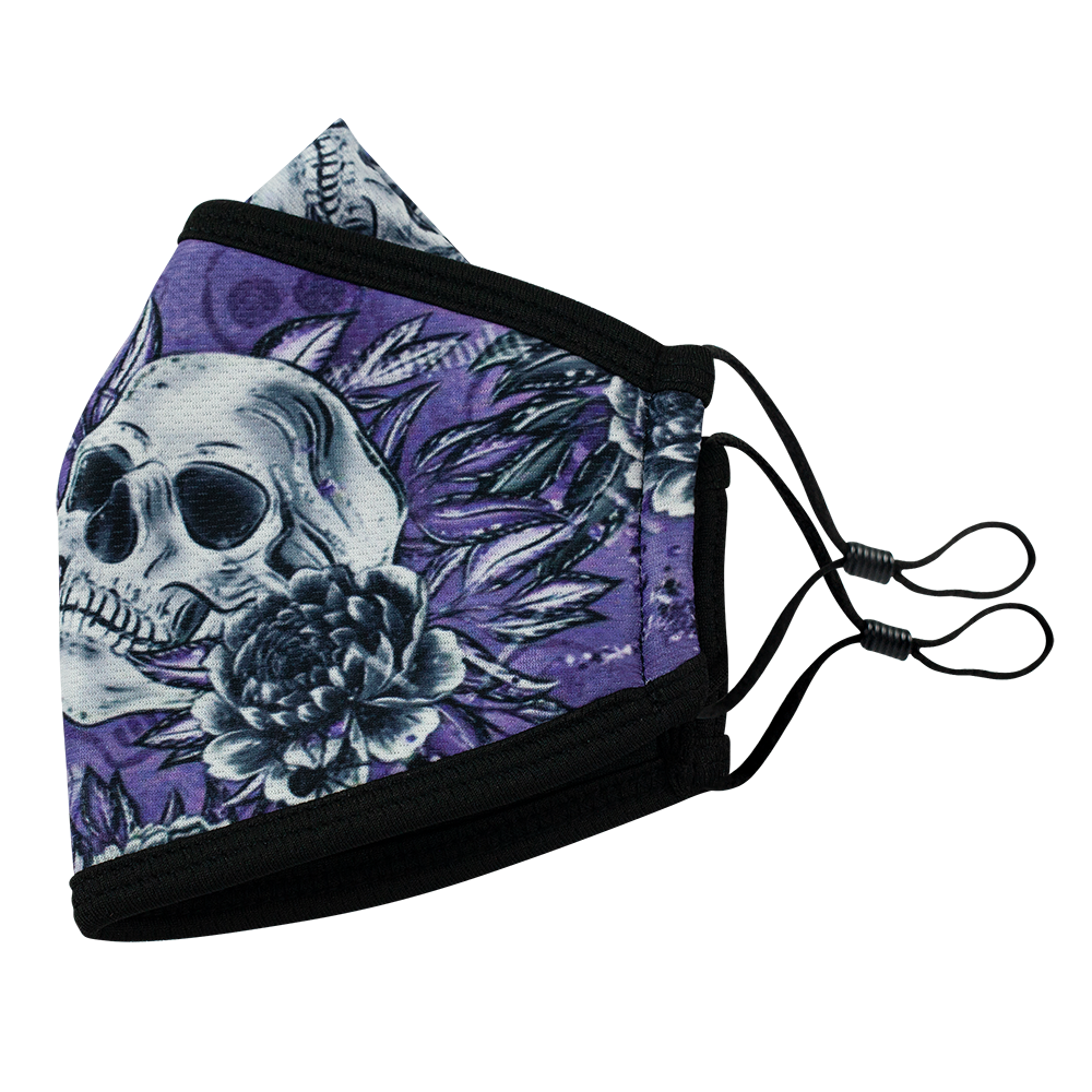 Skull Flower Style 5- Adults - Nose Flap - 3 layers Cloth Mask. Adjustable Straps.