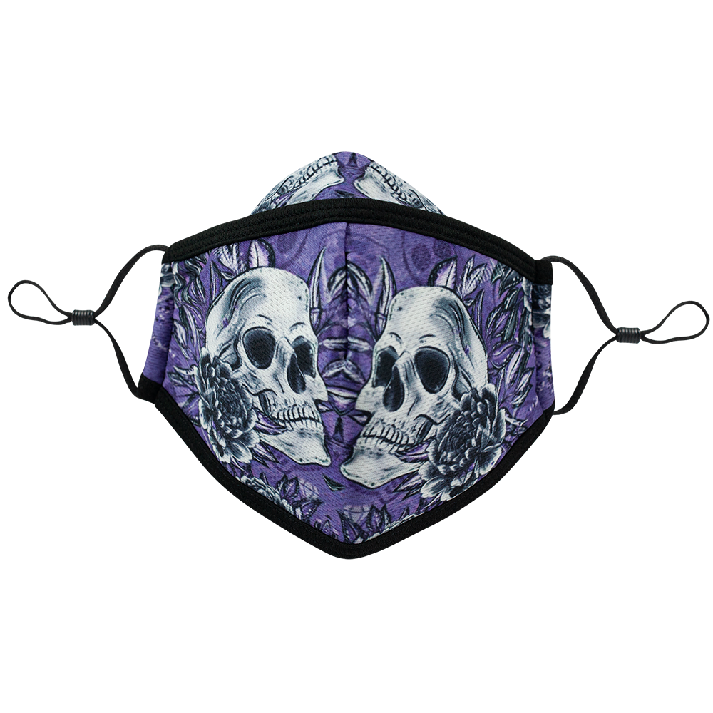 3 Layers - Skull Flower Style 5- Adults- Nose Flap - Adjustable Straps.
