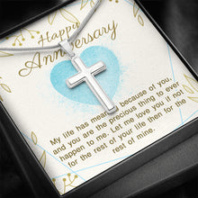Load image into Gallery viewer, Happy Anniversary - Artisan Crafted White Gold Finish Cross Necklace
