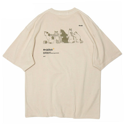 T-Shirt-Chat-Japonais-Beige