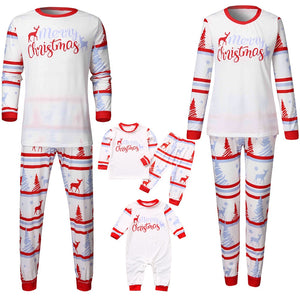 Home Wear Parent-Child Christmas Clothes Set Striped Long Sleeve Tops+Pants