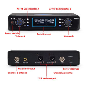 UHF 2 Channels Long Range Wireless Microphone System