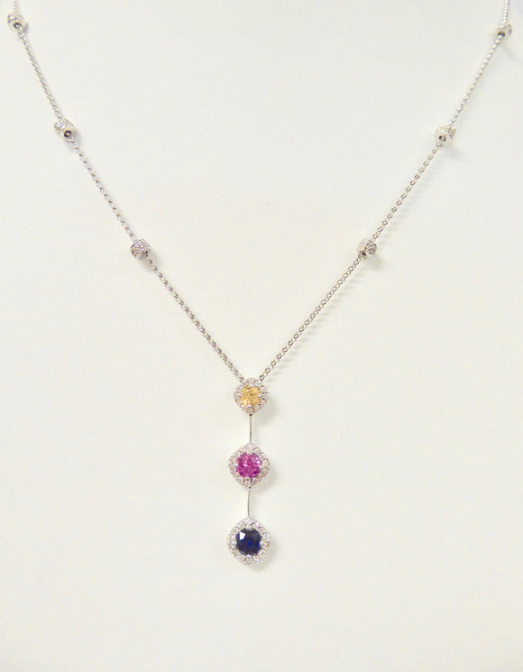 18CT WHITE GOLD, SAPPHIRE & DIAMOND NECKLACE