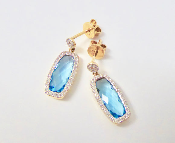 18CT GOLD, BLUE TOPAZ & DIAMOND EARRINGS