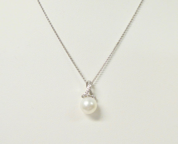 9CT WHITE GOLD, FRESHWATER PEARL & DIAMOND NECKLACE