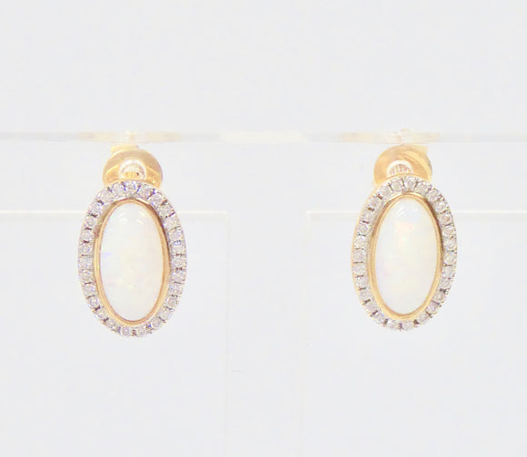 9CT GOLD, OPAL & DIAMOND EARRINGS