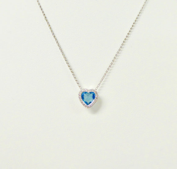 9CT WHITE GOLD, BLUE TOPAZ & DIAMOND NECKLACE