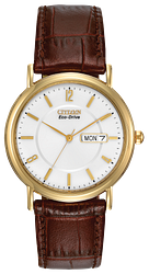 CITIZEN MEN'S ECO-DRIVE ROUND GOLD TONE WATCH