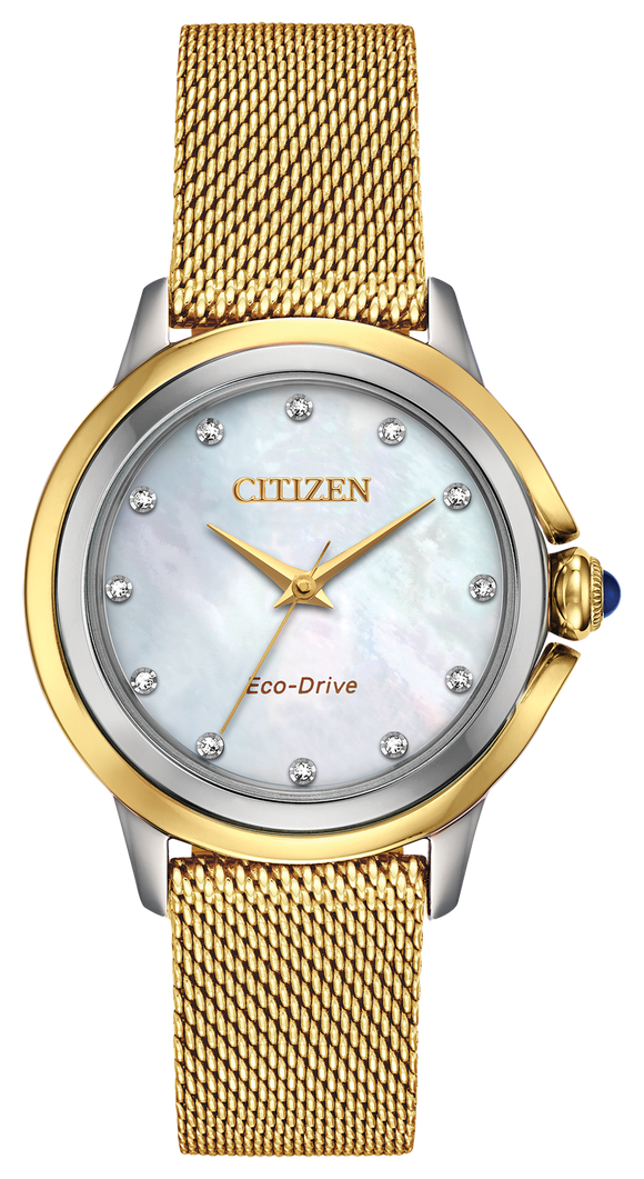 CITIZEN LADIES' ECO-DRIVE DIAMOND AND MOTHER OF PEARL WATCH