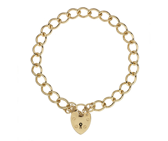 9CT GOLD CURB 62 CHARM BRACELET