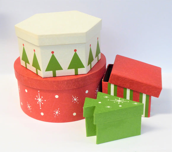 SET OF 4 XMAS BOXES