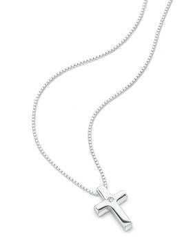D FOR DIAMOND SILVER CROSS NECKLACE