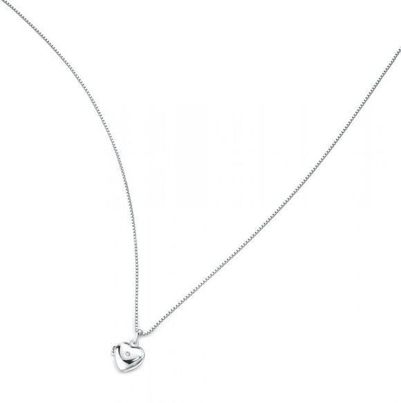 D FOR DIAMOND SILVER LOCKET NECKLACE