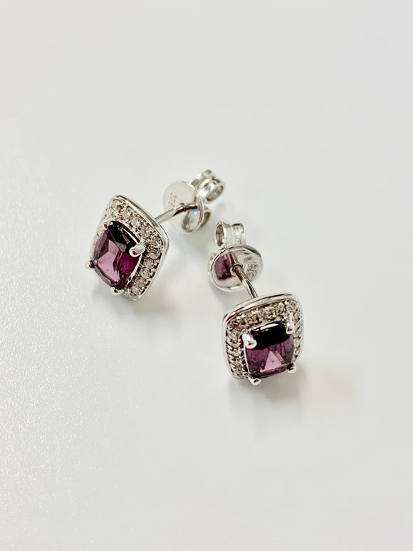 9CT WHITE GOLD GARNET & DIAMOND EARRINGS