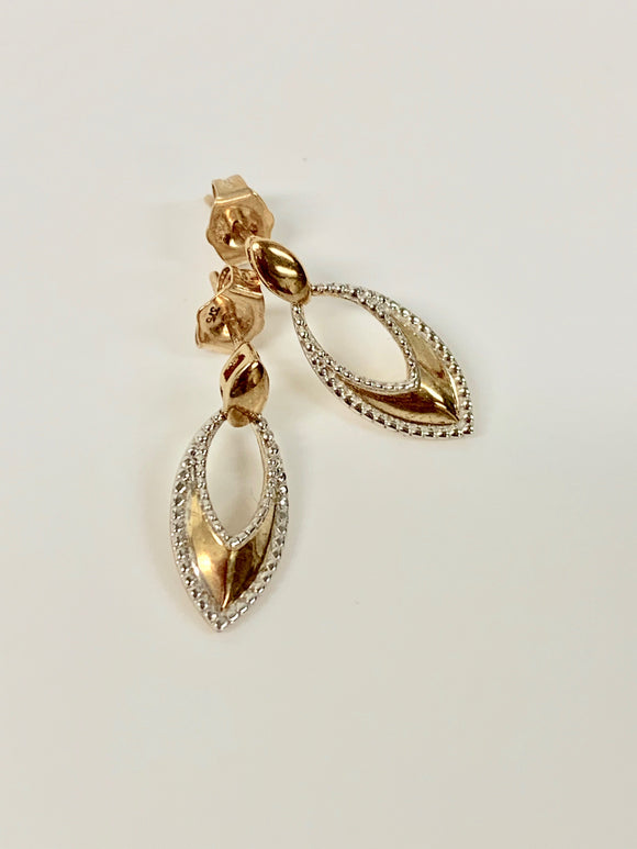 9CT GOLD TWO TONE EARRINGS
