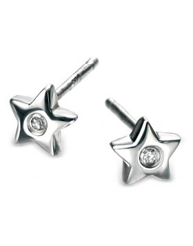 D FOR DIAMOND SILVER STAR EARRINGS