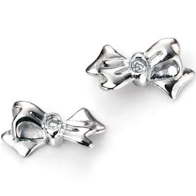 D FOR DIAMOND SILVER BOW EARRINGS