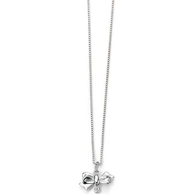 D FOR DIAMOND SILVER BOW NECKLACE