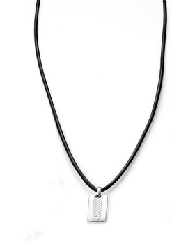 D FOR DIAMOND SILVER DOG TAG NECKLACE