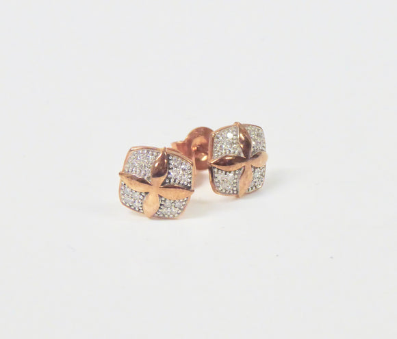 9CT ROSE GOLD & DIAMOND EARRINGS
