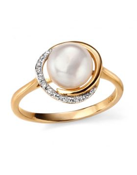 9CT GOLD, FRESHWATER PEARL & DIAMOND RING