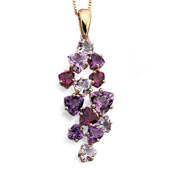 9CT GOLD, AMETHYST & GARNET NECKLACE