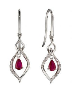 9CT WHITE GOLD, RUBY & DIAMOND EARRINGS