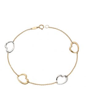 9CT GOLD TWO TONE OPEN HEART BRACELET
