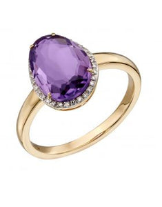 9CT GOLD, AMETHYST & DIAMOND RING